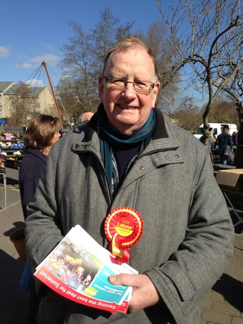 Alwyn Dow, Labour candidate for Mendip Central and East lobbying  Lib Dem MP David Heath
