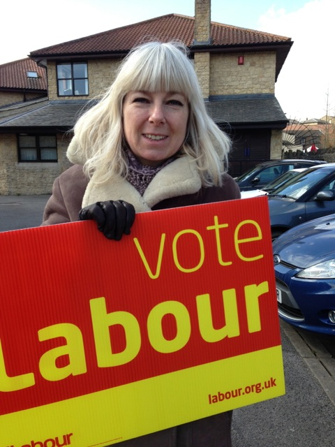 Labour candidate for Frome North. Catherine Richardson, at the protest offering workers an alternative solution to Lib Dem broken promises