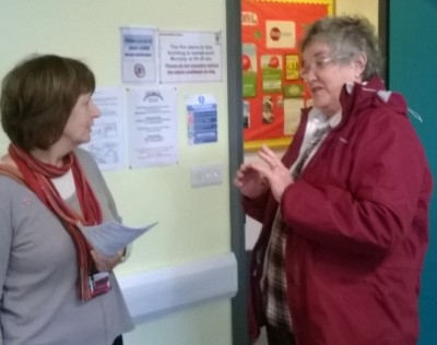 Labour Councillor Maureen Smith (right) on a recent visit to Alcombe Childrens centre