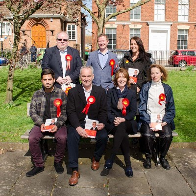 Mick Lerry with some of Labour's new District Candidates. Back L-R Phil King (Quantocks) Wes Hinckes (Hamp) Siobhan Wilson (Victoria) Diogo Rodrigues (Dunwear) Moira Brown (Eastover) and Caroline Wilkins (Wyndham)